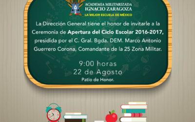 Ceremonia de Apertura del Ciclo Escolar 2016-2017